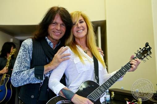 Rudy Sarzo and Lita Ford backstage at the memorial service at Forest Lawn Hollywood Hills  Photo by Kevin Estrada