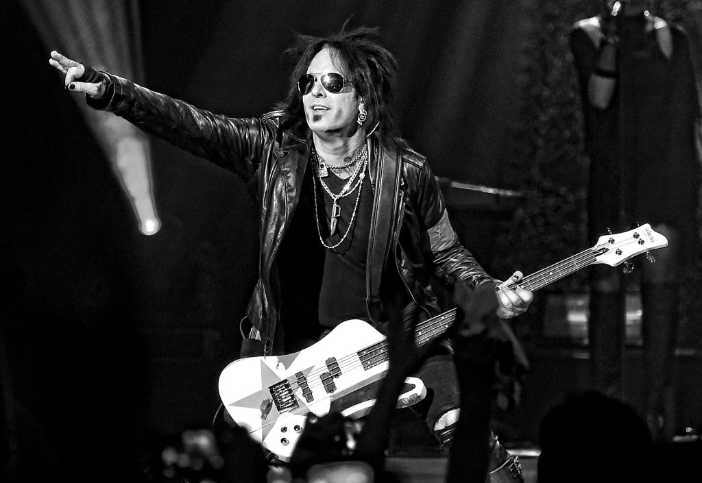 LAS VEGAS, NV - APRIL 10:  (EDITORS NOTE: Image was processed using digital filters) Bassist Nikki Sixx of Sixx:A.M. performs at The Joint inside the Hard Rock Hotel & Casino on April 10, 2015 in Las Vegas, Nevada.  (Photo by Ethan Miller/Getty Images)